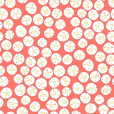Inspired by Color™ Yellow & Orange Sand Dollars Wallpaper, Coral With White/Mustard Yellow