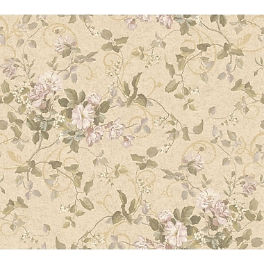 Inspired By Color™ Orange & Yellow Floral Branch Wallpaper, Tan With Dark Tan/Pink/Green