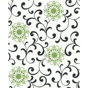 Inspired By Color™ Black & White Medallion With Scroll Wallpaper, White With Green/Black