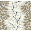 Inspired By Color™ Metallics Leaf/Branch Stripe Wallpaper, Silver With Gold/White