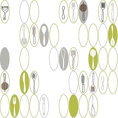 Inspired by Color™ Green Kitchen Utensils & Ovals Wallpaper, White With Green Ash Gray