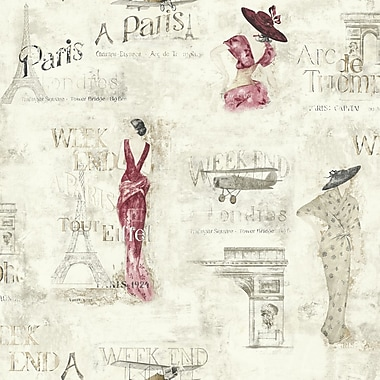 Inspired By Color™ Black & White Weekend In Paris Wallpaper, Cream With Red/Gray/Tan