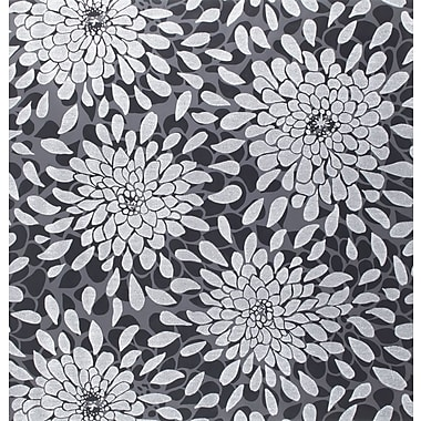 Inspired By Color™ Black & White Toss The Bouquet Wallpaper, Silver Glitter With Black