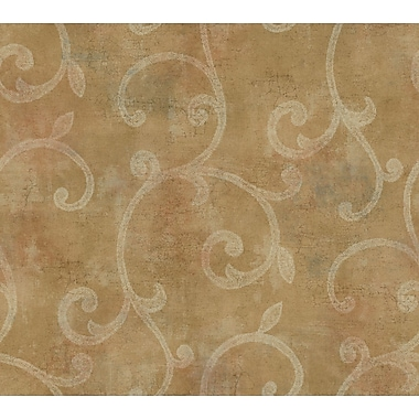 Inspired By Color™ Metallics Lacey Scroll Raised Wallpaper, Gold With Red/White