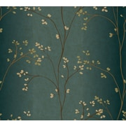 Inspired By Color™ Blue Vertical Blossoms Wallpaper, Teal With Bronze Metallic/Green