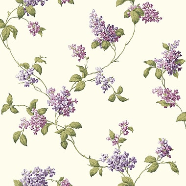Inspired By Color™ Pink & Purple Lilac Trail Wallpaper, White With Purple
