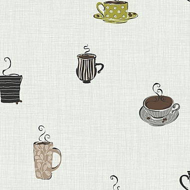 Inspired by Color™ Black & White Coffee Sidewall Wallpaper, Metallic Silver With Green/Gray