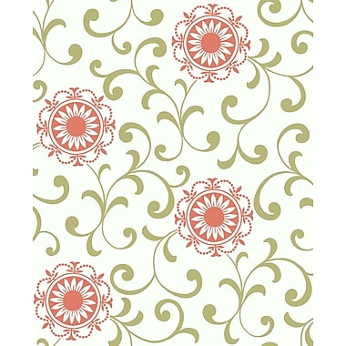 Inspired By Color™ Green Medallion With Scroll Wallpaper, White With Orange/Green
