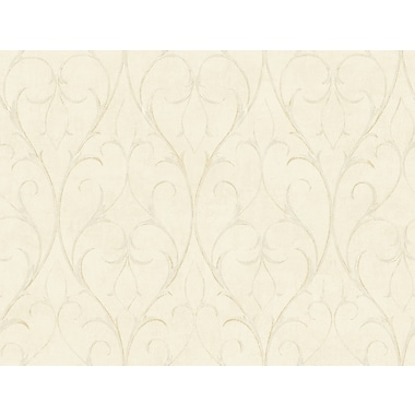 Inspired By Color™ Beige Delicate Scroll Wallpaper, Ivory With Off White/Metallic