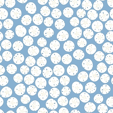 Inspired by Color™ Blue Sand Dollars Wallpaper, Dark Blue With White/Silver Glint