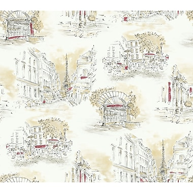 Inspired By Color™ Black & White Paris Toile Wallpaper, Cream With Tan/Black/Red