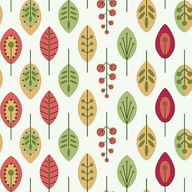 Inspired by Color™ Yellow & Orange Leaves Wallpaper, White With Coral/Grass Green