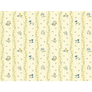 Inspired By Color™ Orange & Yellow Floral Toss Stripe Wallpaper, Cream With Blue