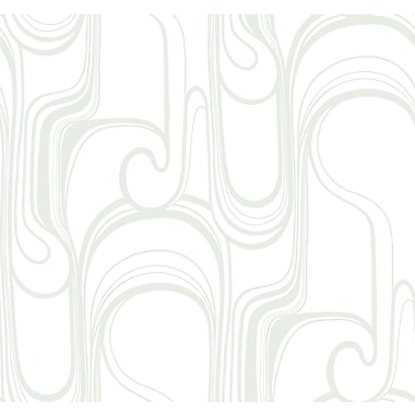 Inspired By Color™ Metallics Curves Ahead Wallpaper, Silver Metallic With White