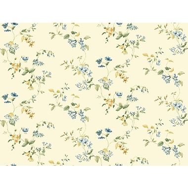 Inspired By Color™ Orange & Yellow Wild Flower Trail Wallpaper, Cream With Blue
