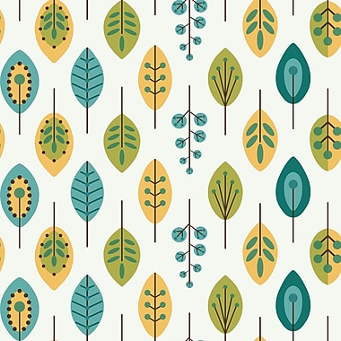 Inspired by Color™ Blue Leaves Wallpaper, White With Teal Blue/Mustard Yellow