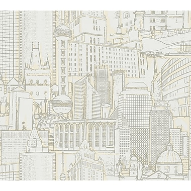 Inspired By Color™ Beige Great Expectations Wallpaper, White With Tan/Silver