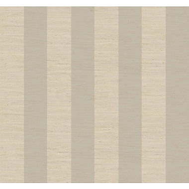 Inspired By Color™ Metallics 3 Wide Stripe Wallpaper, Silver With Cream/Tan