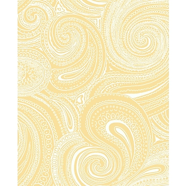 Inspired By Color™ Orange & Yellow Paisley Swirl Wallpaper, Yellow With White