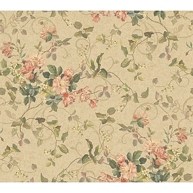 Inspired By Color™ Pink & Purple Floral Branch Wallpaper, Dark Tan With Green