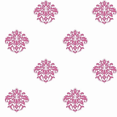 Inspired By Color™ Pink & Purple Damask Spot Wallpaper, White With Off Whites