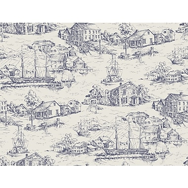 Inspired By Color™ Blue Scenic Nautical Toile Wallpaper, Blue With Off White