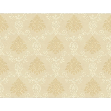 Inspired By Color™ Beige Document Damask Wallpaper, Light Tan With Off White