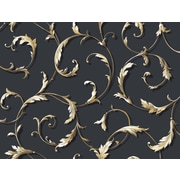 Inspired By Color™ Black & White Acanthus Scroll Wallpaper, Gray With Beige