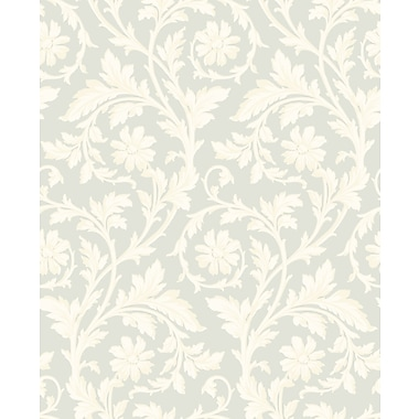 Inspired By Color™ Blue Tonal Damask Wallpaper, Light Green With Cream/Tan