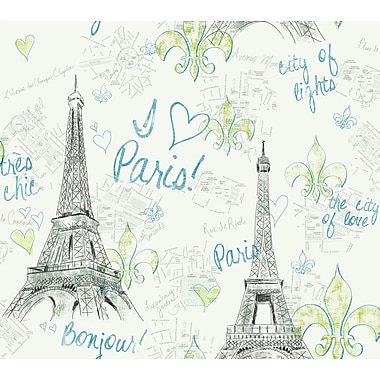 Inspired By Color™ Green Paris Sidewall Wallpaper, White With Black/Teal