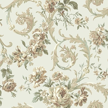 Inspired By Color™ Green Rococco Floral Wallpaper, Pearl With Mauve/Green
