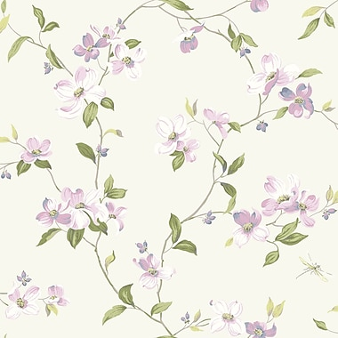 Inspired By Color™ Pink & Purple Dogwood Wallpaper, White With Off Whites