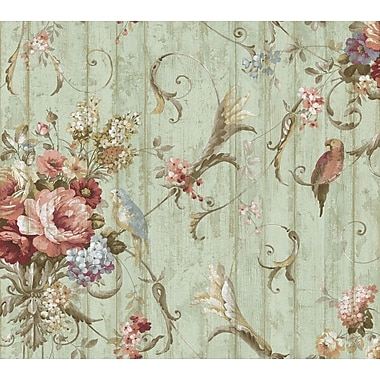 Inspired By Color™ Blue Parrots With Floral Bouquet Wallpaper, Blue