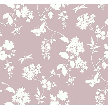 Inspired By Color™ Pink & Purple Scenic Vines Wallpaper, Pink With White