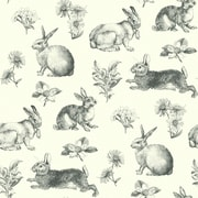 Inspired By Color™ Black & White Bunny Toile Wallpaper, Black With White