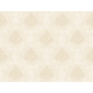 Inspired By Color™ Beige Document Damask Wallpaper, Ivory With Metallic