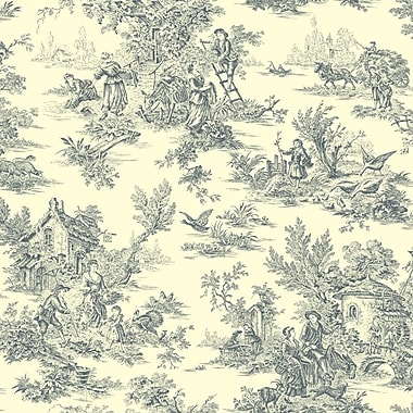 Inspired By Color™ Blue Campagne Toile Wallpaper, Navy Blue With Cream