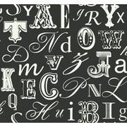 Inspired By Color™ Black & White Word Play Wallpaper, White With Black