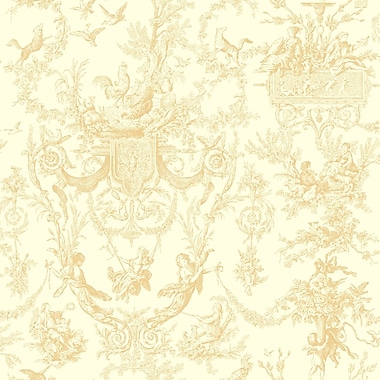 Inspired By Color™ Beige Old World Toile Wallpaper, Beige With White