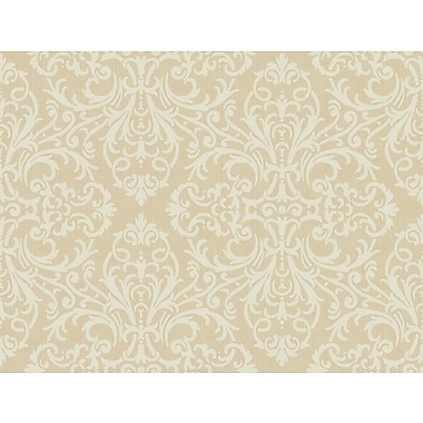 Inspired By Color™ Beige Open Damask Wallpaper, Dark Tan With Bisque