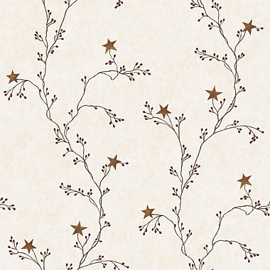 Inspired By Color™ Country & Lodge Star Berry Vine Wallpaper, Off White