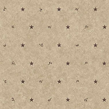 Inspired By Color™ Country & Lodge Barn Star Sidewall Wallpaper, Khaki With Burgundy