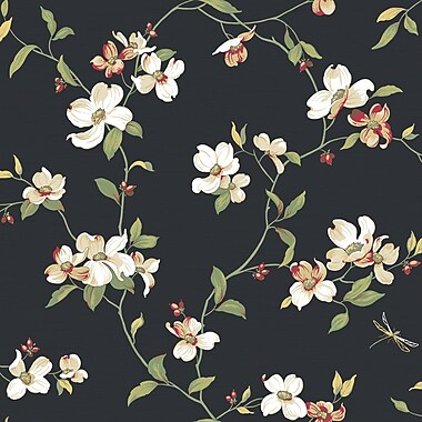 Inspired By Color™ Black & White Dogwood Wallpaper, Black