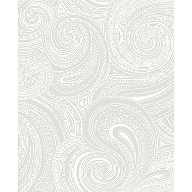 Inspired By Color™ Beige Paisley Swirl Wallpaper, Gray With White