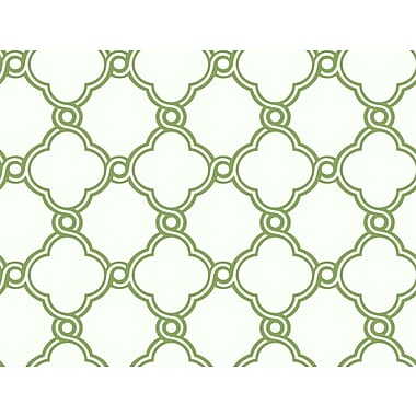 Inspired By Color™ Green Open Trellis Wallpaper, Green With White