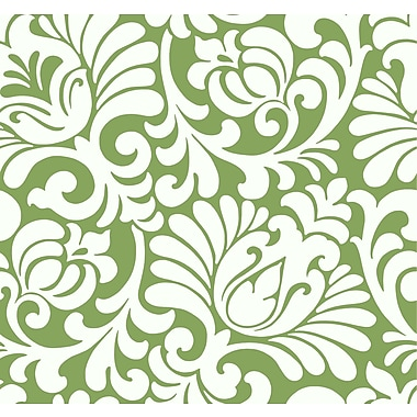 Inspired By Color™ Green Tulip Damask Wallpaper, Green With White