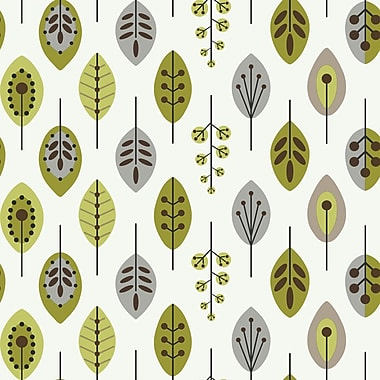 Inspired by Color™ Green Leaves Wallpaper, White With Lime/Brown