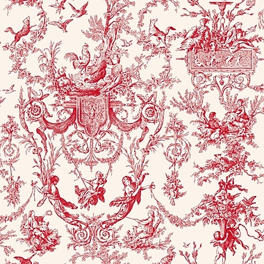 Inspired By Color™ Red Old World Toile Wallpaper, Red With White
