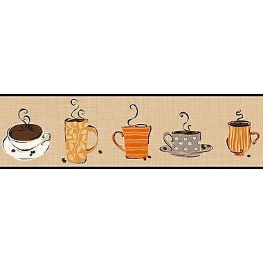 Inspired by Color™ Borders Coffee Border, Dark Brown With Gray/Orange
