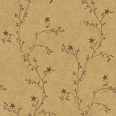 Inspired By Color™ Country & Lodge Star Berry Vine Wallpaper, Tan